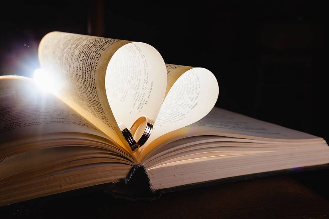 book with wedding rings in it